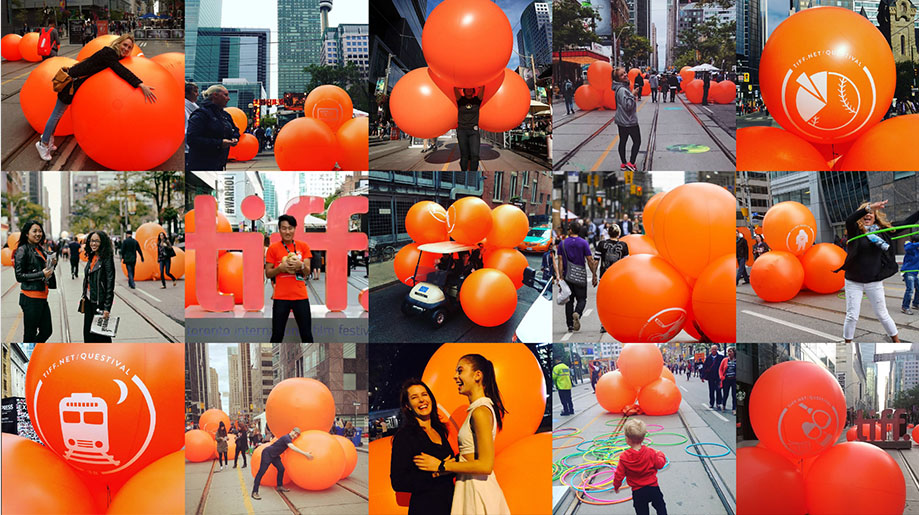 We helped create a street installation for TIFF that was also an online game. It had to intrigue but also draw people in so we celebrated 40 years of TIFF films through an app based quiz we called 'Questival'. Photos courtesy of Instagram.